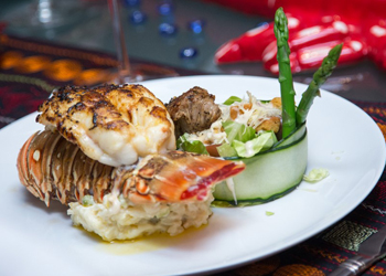 surf and turf steak and lobster dinner catering cabo san lucas